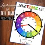 Learn To Tell Time Printable Clock Kids Learning Game Etsy