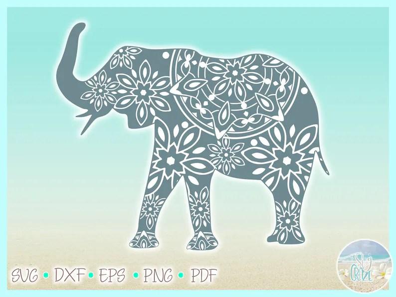 Download Elephant Mandala SVG Files for Cricut Silhouette Dxf Eps ...