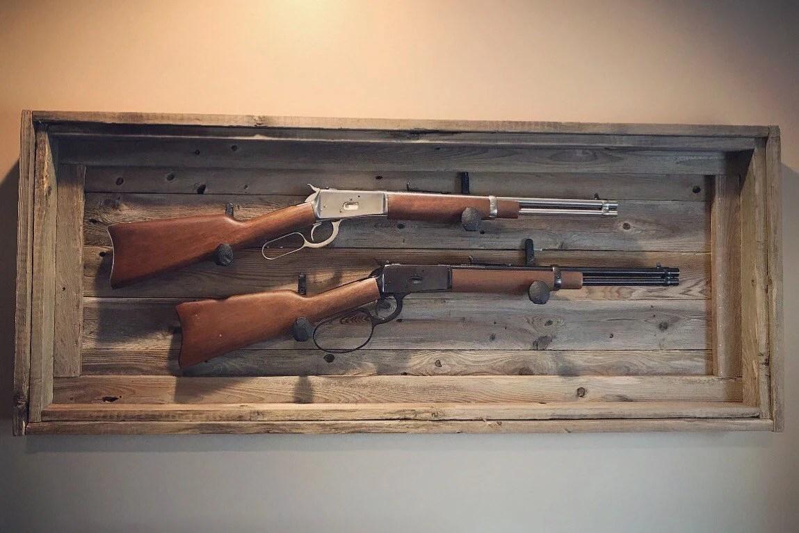 rustic dual gun rack reclaimed wood gun rack railroad spikes etsy