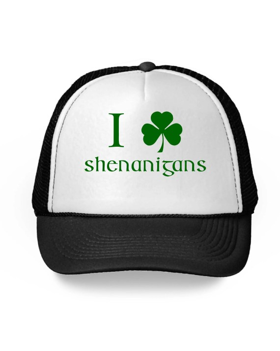 I Love Shenanigans Shamrock Baseball Cap