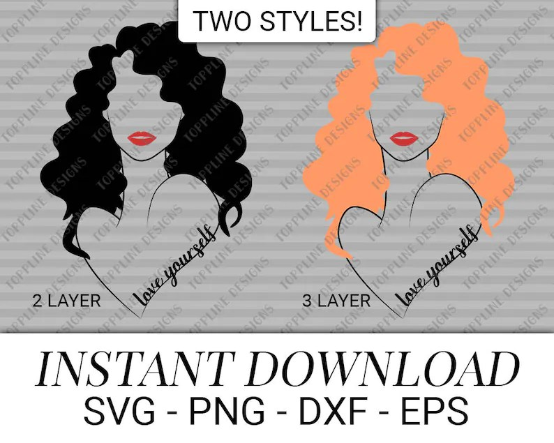 Download Love yourself SVG / PNG / DXF / eps curly hair wavy hair ...