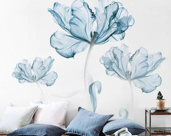 flower wall decal etsy
