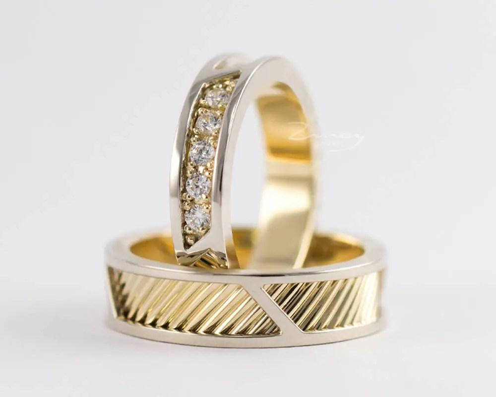 bicolor wedding bandrose gold wedding ring sethis and  Etsy