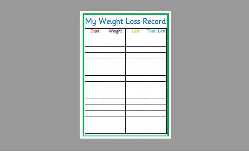 Printable weight loss record slimming world watchers fitness healthy living instant download also etsy rh