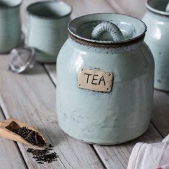 Kitchen Pottery Canisters Design Charlotte Nc Etsy Ceramic Tea Container Rustic Blue Receptacle Jar Canister Lovers Gift Housewarming