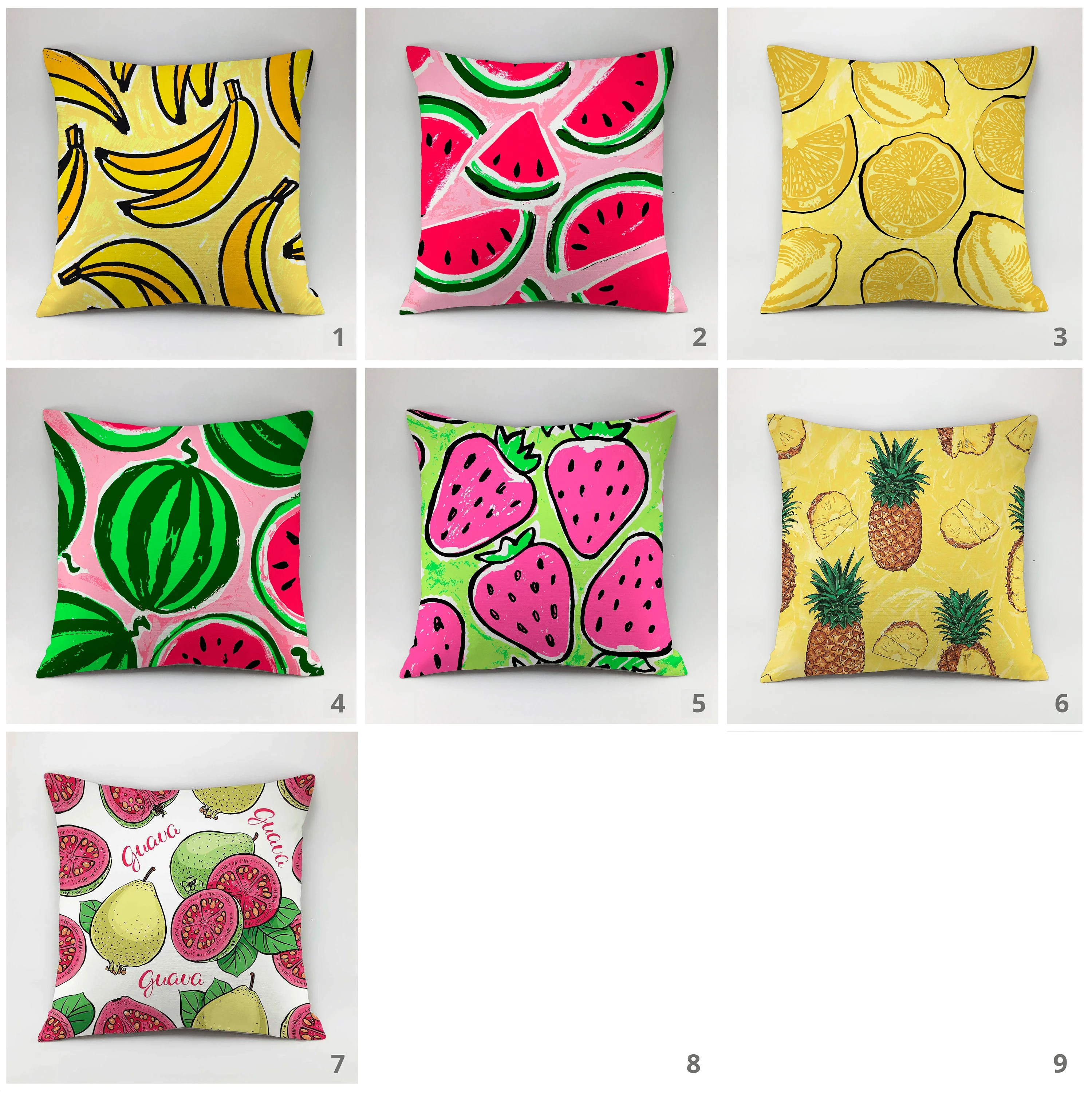 kitchen cushion covers drop in sinks pillow cover fruit case etsy image 0