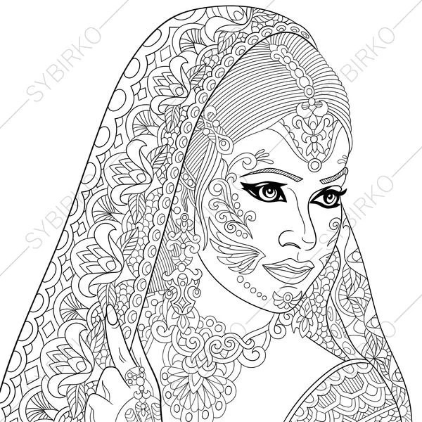 Indian Woman. Paisley Henna Tattoo. Coloring Pages