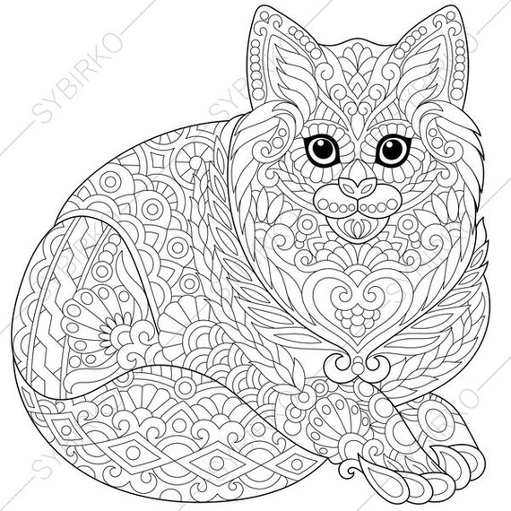 Cat. Kitten. Coloring Page for National Pet day greeting