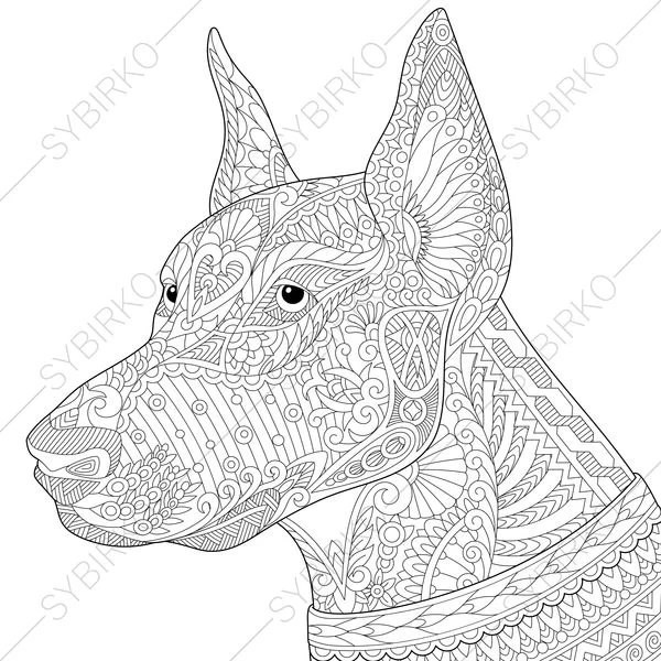 Doberman Dog. Coloring Page for National Pet day greeting