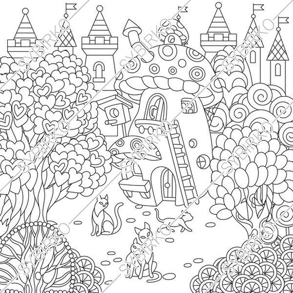 coloring pages for adults. fairy tale town. fairytale