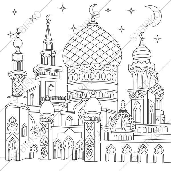 Turkish mosque. Arabic Islamic buildings. Ramadan holiday