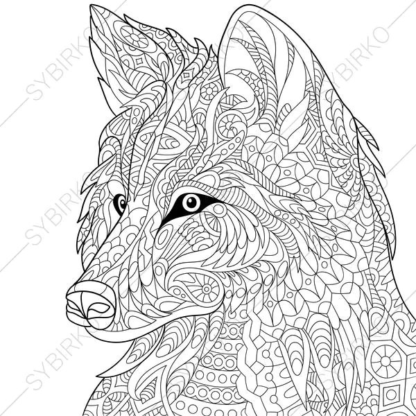 Wolf. Coloring Page. Animal coloring book pages for Adults