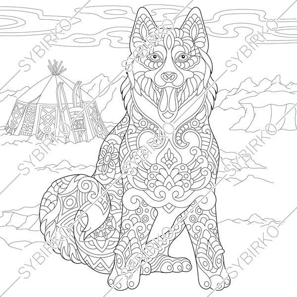 coloring pages for adults. siberian husky dog. alaskan  etsy