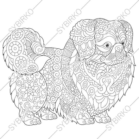 Coloring pages for adults. Pekingese. Japanese Chin. Dog