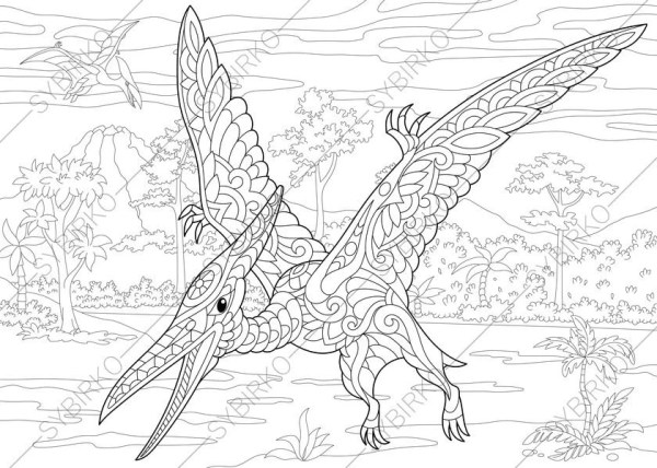 pterodactyl coloring page # 43