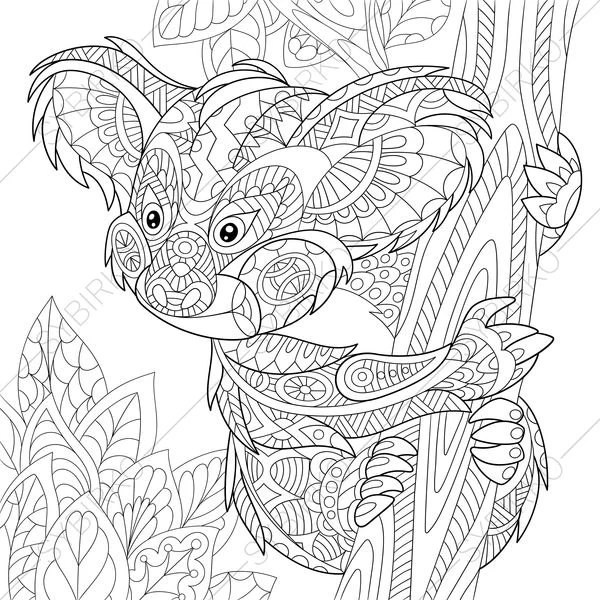 Koala Bear. 2 Coloring Pages. Animal coloring book pages