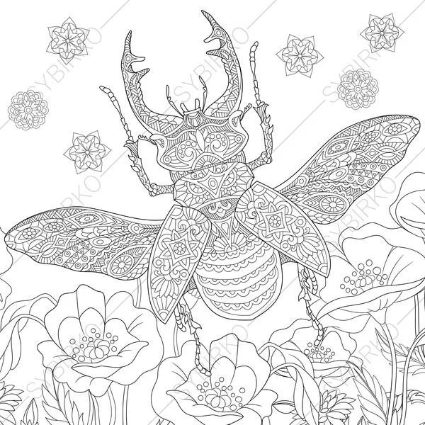 Stag Beetle. 2 Coloring Pages. Animal coloring book pages