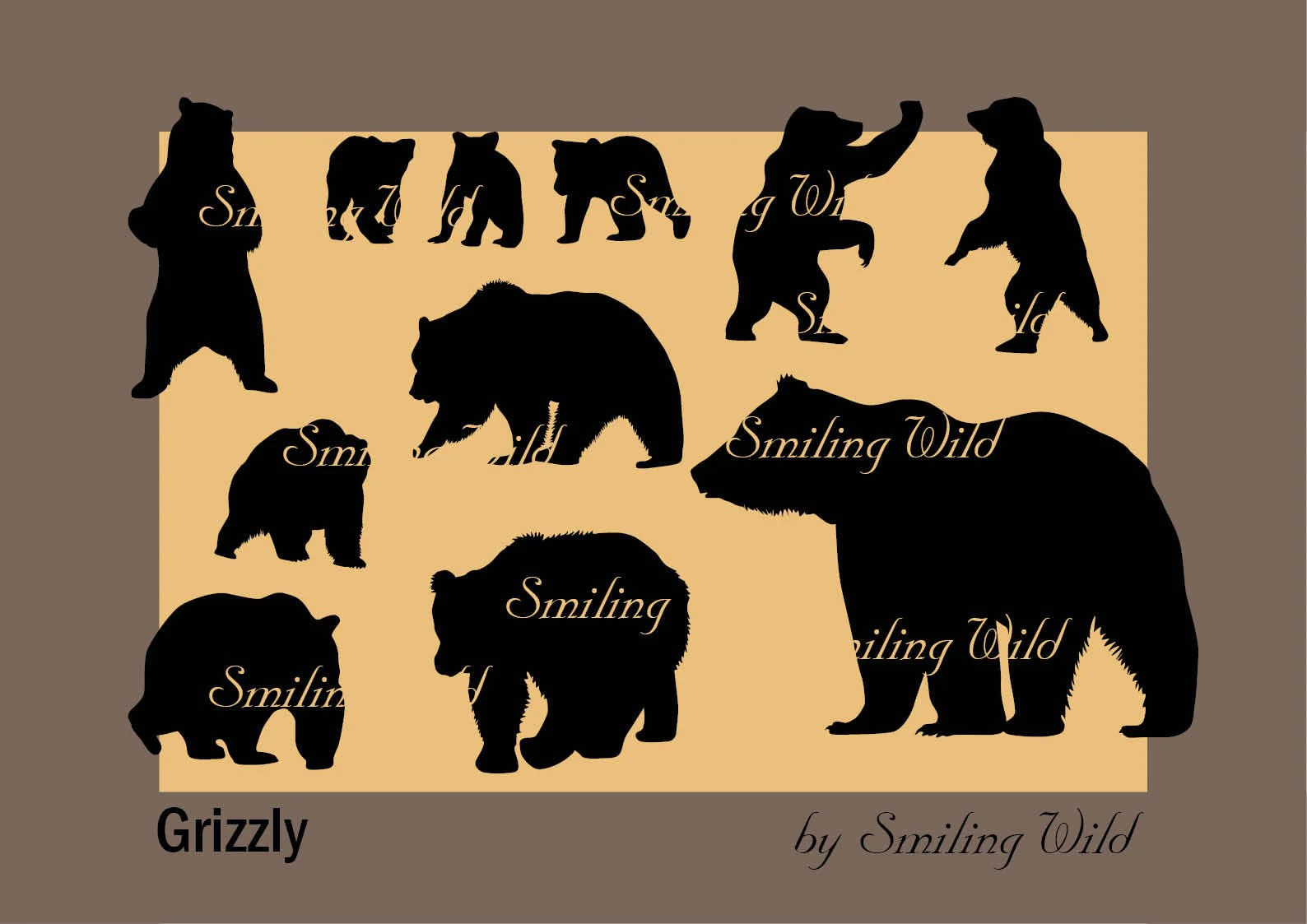 Grizzly Bear Silhouette Svg Cub Clipart Printable Forest