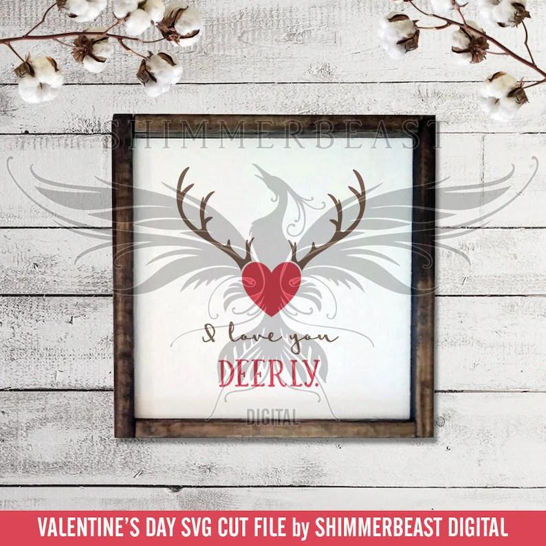 Download Valentine's Day SVG Cut File I Love You Deerly svg | Etsy