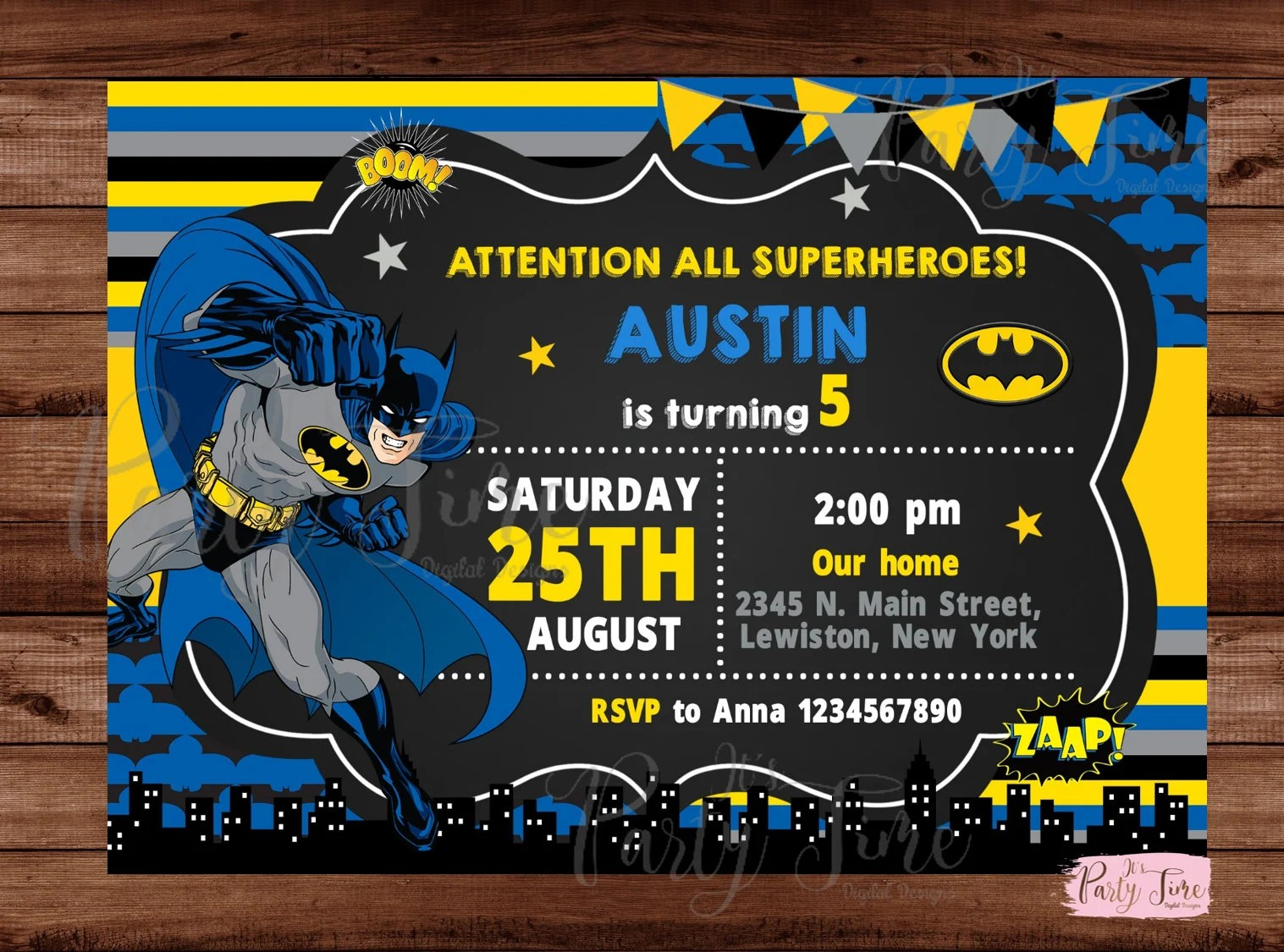 batman invitations etsy