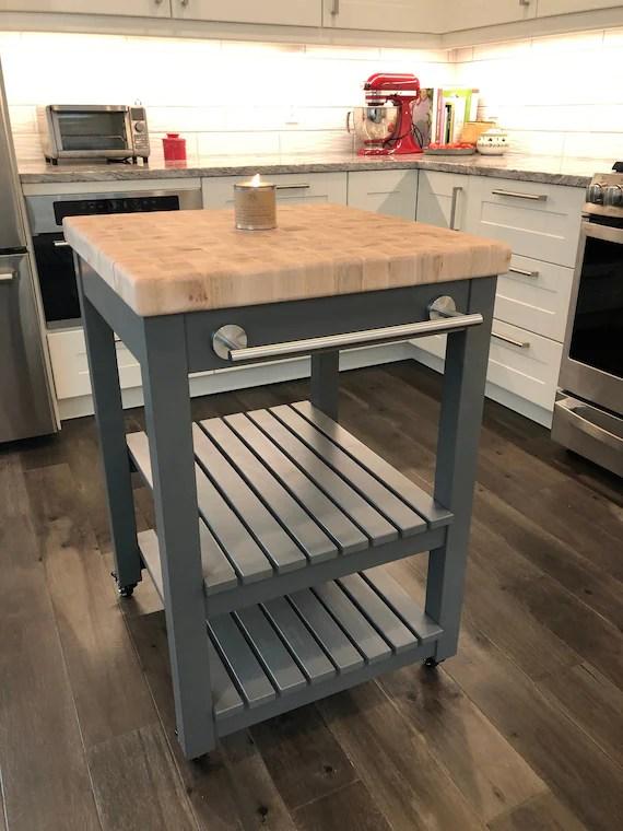 butcher block top kitchen island cart