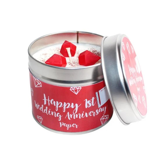 1st Year Wedding Anniversary Candle Tin