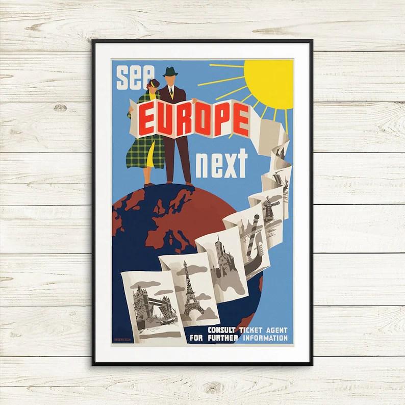 europe travel posters vintage