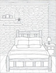 Adult Coloring Book Page Interior Design Lodge Bedroom Etsy