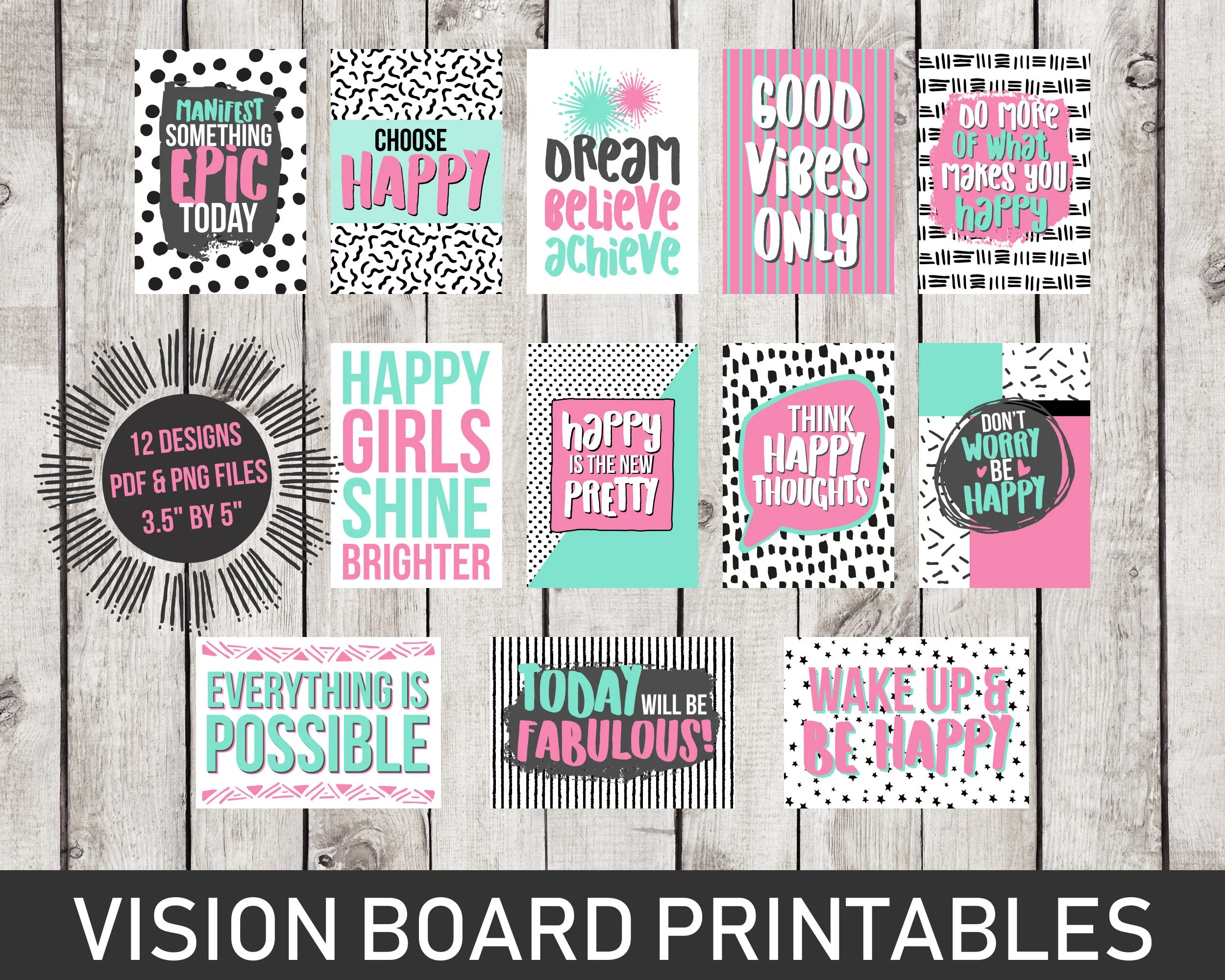 Vision Board Printables Inspirational Quotes Dorm Room