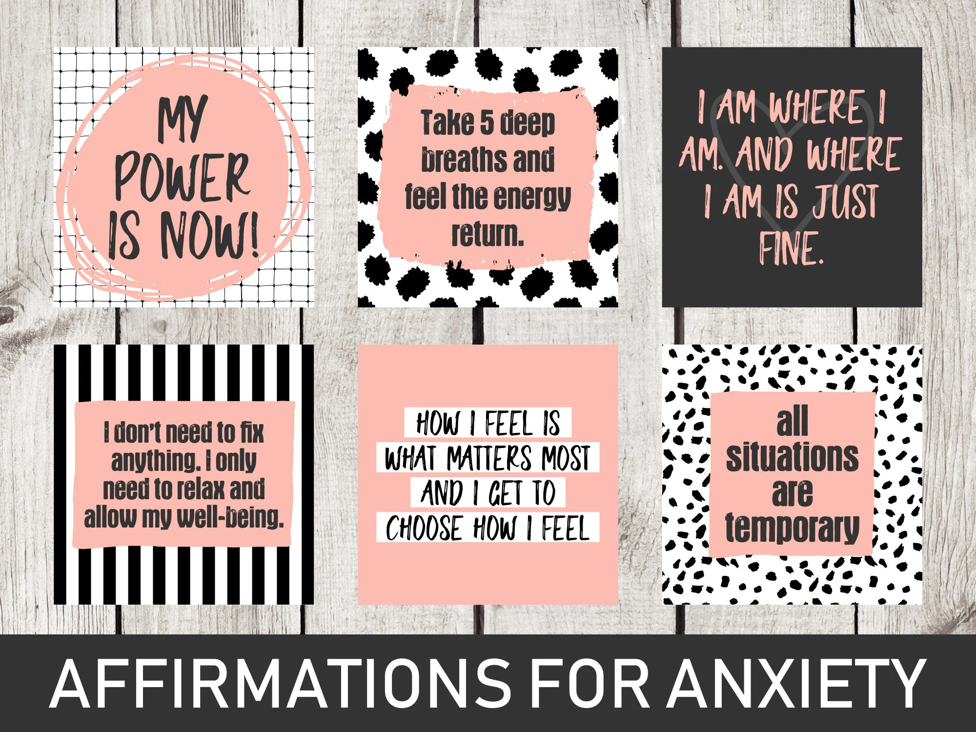 Vision Board Printables Affirmations For Anxiety Printable