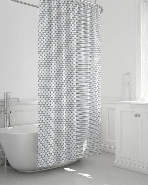 the honeycomb slate gray shower curtain 74 x71