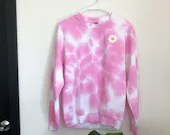 Tie Dye Sweatshirt with Embroidered Patch (S)