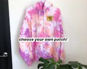 Tie Dye Hoodie with optional embroidered patch (XL)