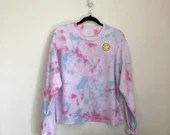 Tie Dye Sweatshirt with Embroidered Patch (M)