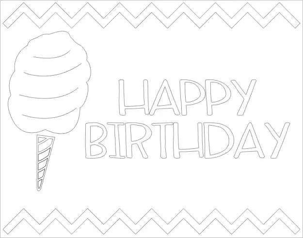 Cotton Candy Happy Birthday Coloring Page // Summer