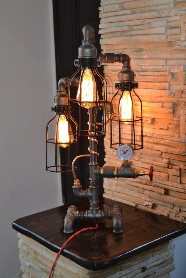 Desk Pipe Lamp,Table Lamp,Industrial Lighting,Steampunk Light,Bedside Pipe Lamp,Rustic Home Decor,Housewarming,Edison Light,Vanity.