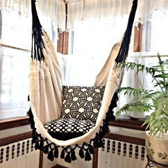 White Bohemian Hanging Chair Movie Theater Chairs For Home Etsy Hammock Black Fringe 6 Feet Long Cotton With Bell