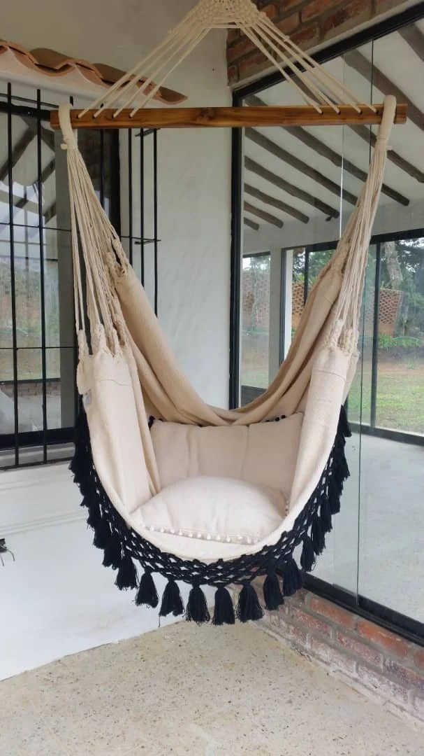 hanging chair qatar covers for a wedding hammock etsy luxury black fringe 6 feet long white cotton with bell
