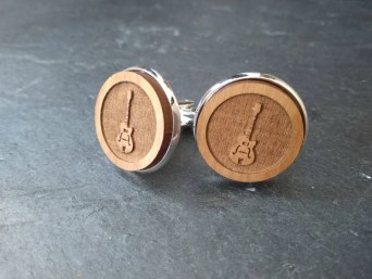 Guitar cufflinks Music cufflinks Wooden Button Cuff Links image 0