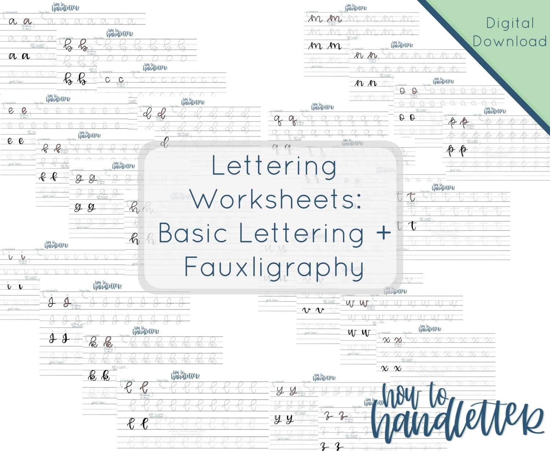 Lettering Worksheets Set 3 Faux Calligraphy Lettering