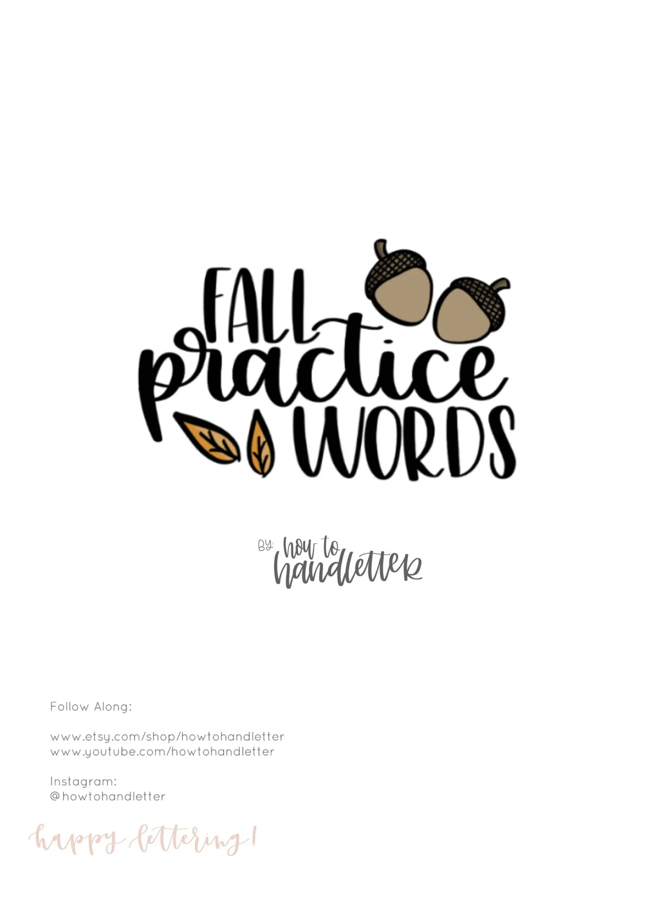 Fall Practice Words Calligraphy Printable Practice Sheet
