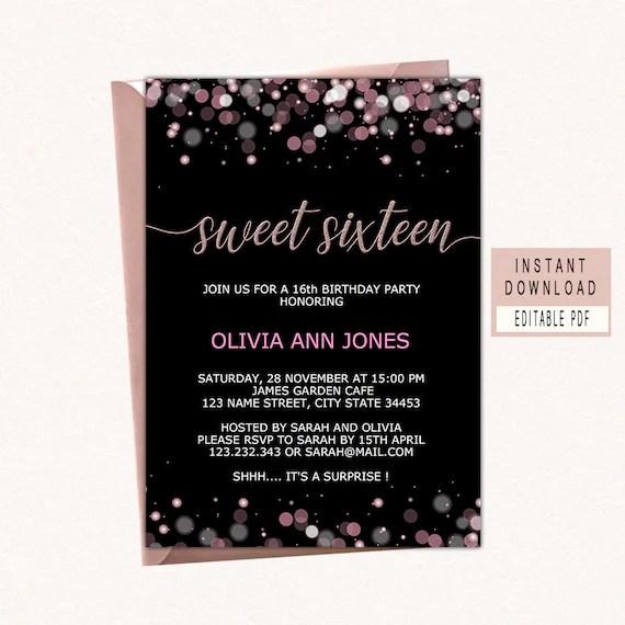 sweet sixteen invitations 16th birthday invitation girl printable elegant 16th birthday party invite instant download editable modern