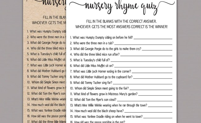 Nursery Rhyme Quiz Nursery Rhymes Baby Shower Games