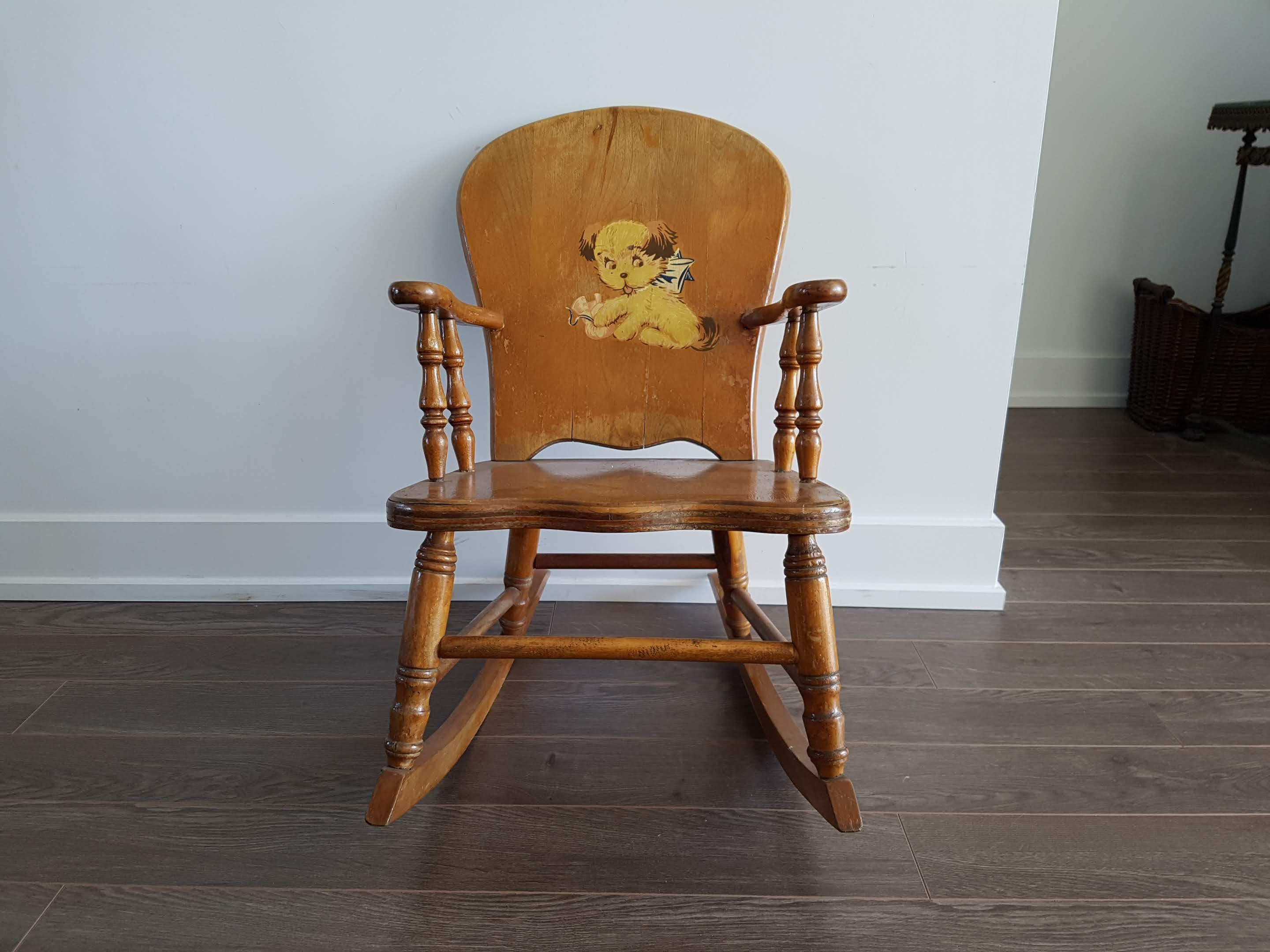Wooden Rocking Chair For Nursery Vintage 40s Child S Wooden Rocking Chair Puppy Dog Nursery Decor Unique Baby Shower Gift Boy Girl Retro Kid S Toddler Bedroom Furniture Prop