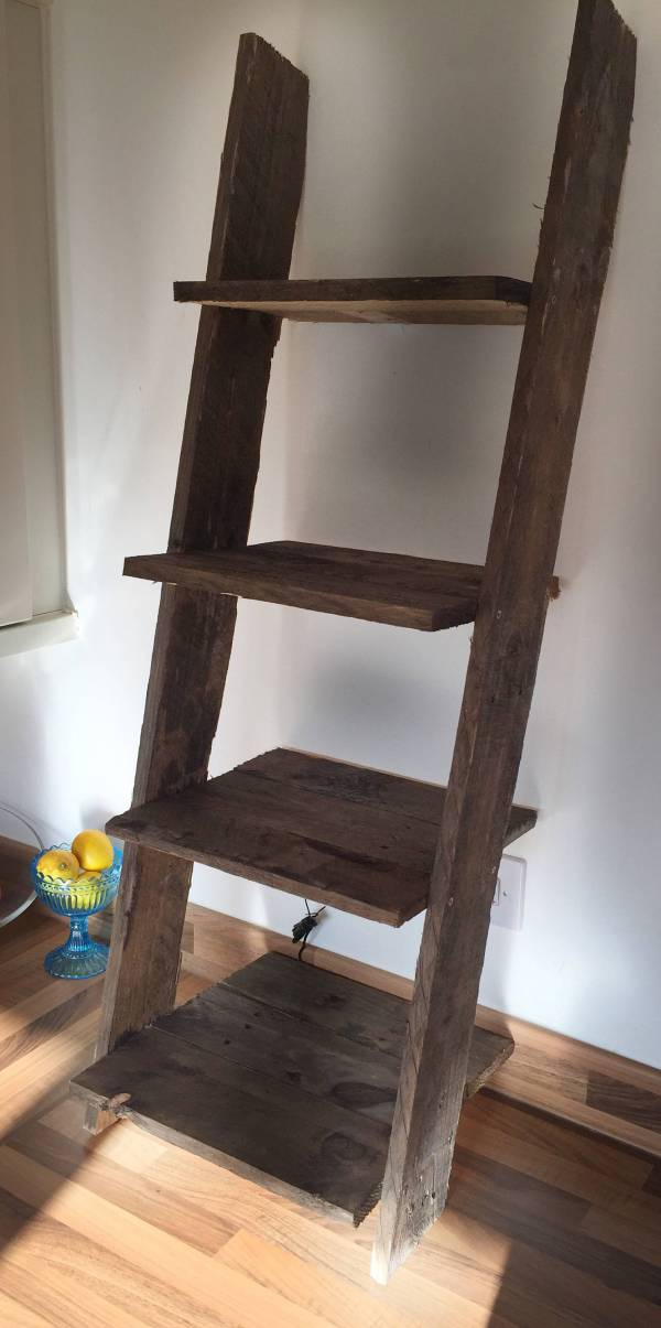 Ladder Shelf Rustic Small Mini 4 Shelves Dark Pallet Wood