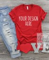 Red Bella Canvas 3001 Valentines Day Flat Lay Mock Up Shirt Etsy
