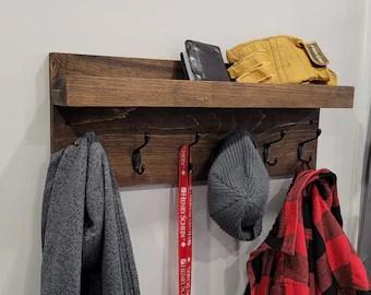 coat rack with shelf etsy