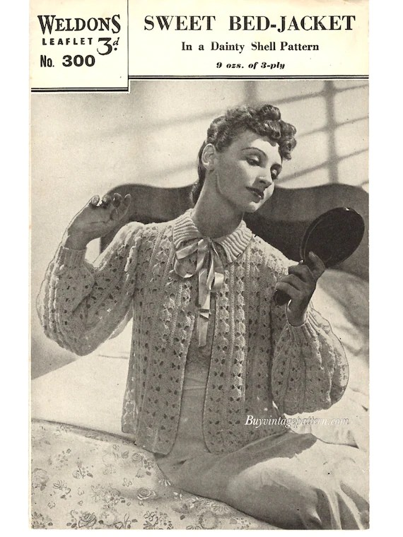 Bed Jacket Vintage : jacket, vintage, Vintage, Jacket, Knitting, Pattern, Instant, Download