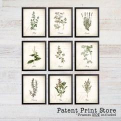 Kitchen Art Prints Discount Knobs And Pulls Vintage Herb Botanical Signs Decor 285