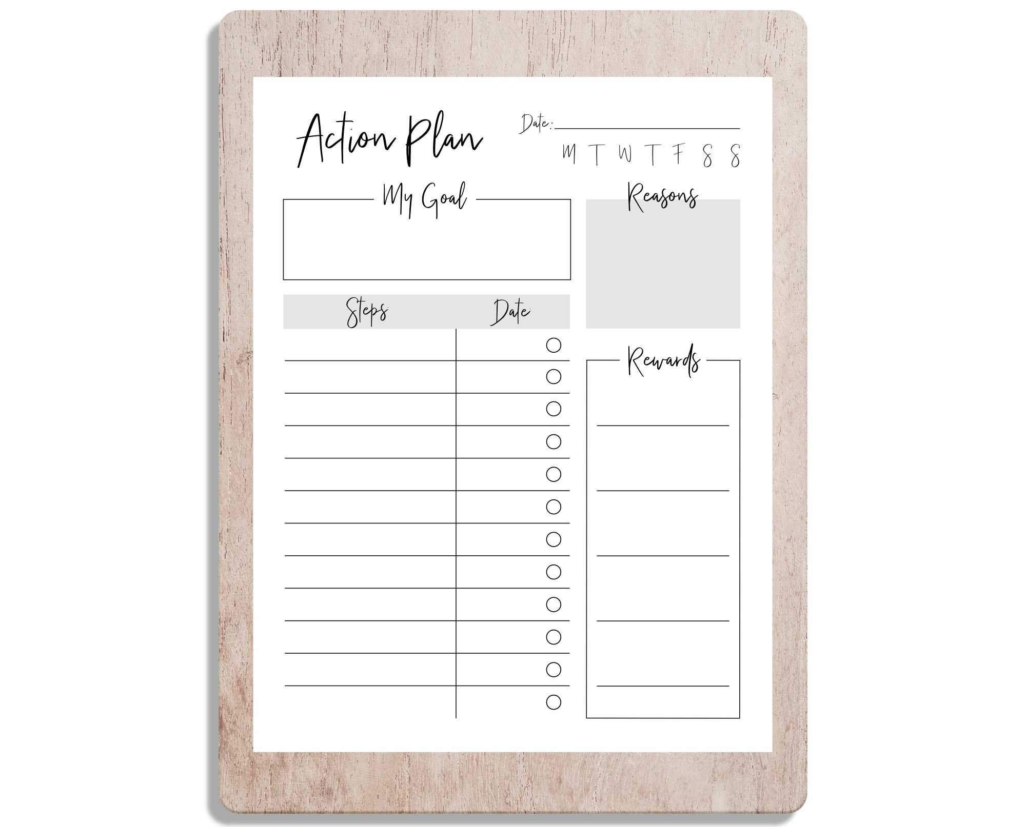 Printable Goal Action Plan Goal Goals Goals